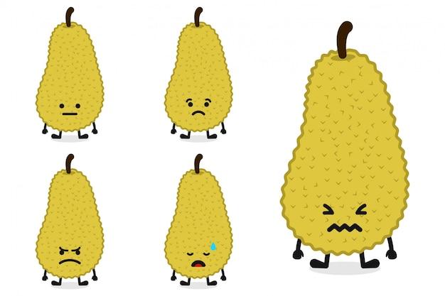 Fruchtjackfruit-charakterillustration eingestellt für traurigen ausdruck