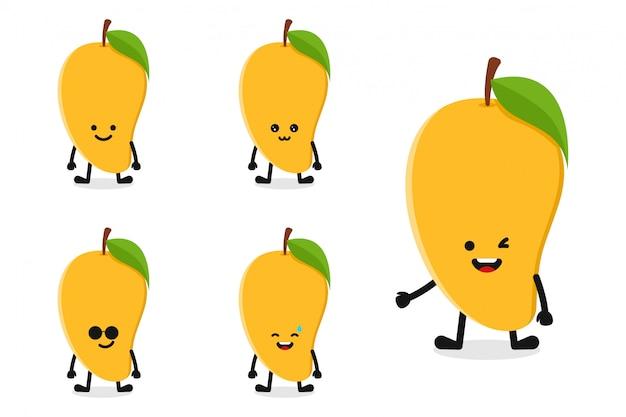 Fruchtmangocharakterillustration eingestellt für glücklichen ausdruck