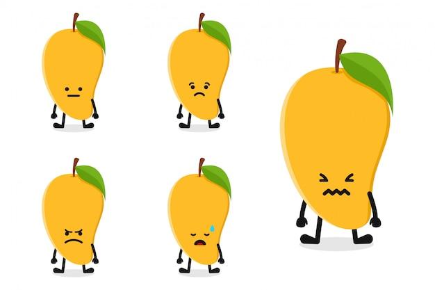 Fruchtmangocharakterillustration eingestellt für traurigen ausdruck