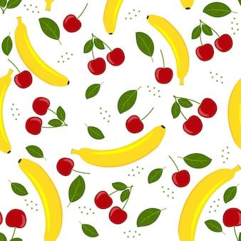 Fruchtmuster von kirsche und banane auf weißem hintergrund, vektorillustration.