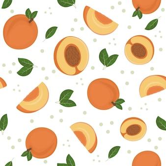 Fruchtmuster von pfirsichen auf weißem hintergrund, vektorillustration