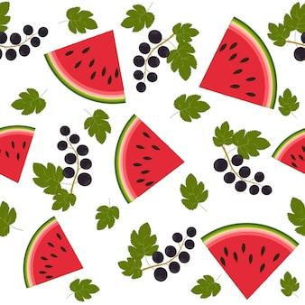 Fruchtmuster wassermelonen und johannisbeeren, farbvektorillustration