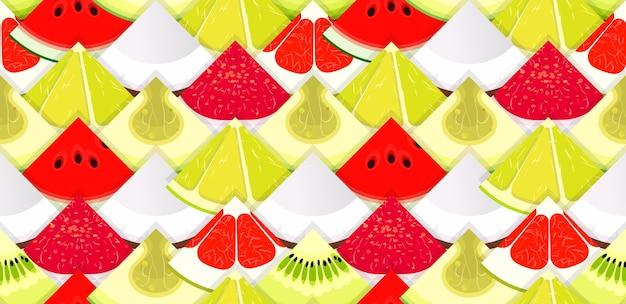 Fruchtnahtloses texturmuster mit fruchtstücken für die verpackung und hintergrund hell