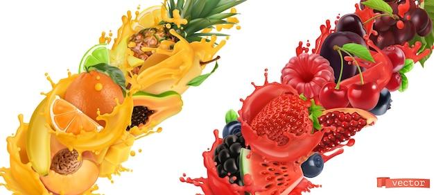 Fruchtplatzen, saftspritzer. süße tropische früchte und gemischte waldbeeren. 3d realistischer vektor
