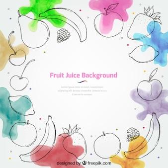 Fruchtsaft hintergrund mit aquarellflecken