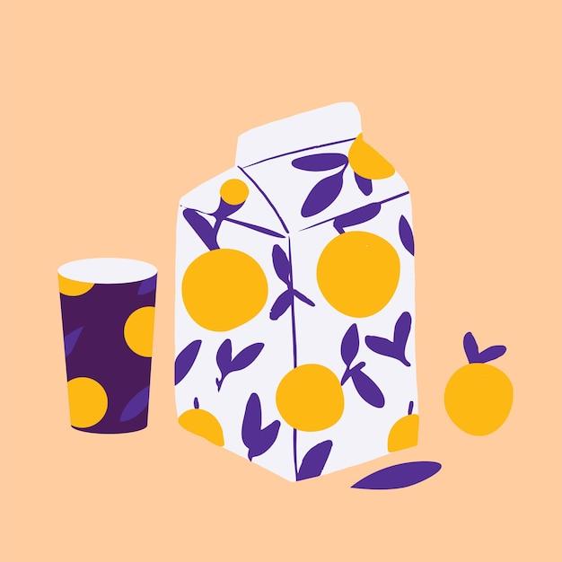 Fruchtsaftpackung karikaturillustration