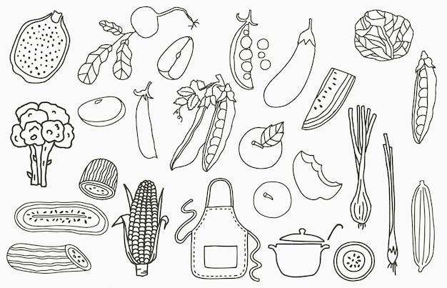 Fruchtsammlungslogo mit apfel, zwiebel, zitrone, gurke. vektorillustration für symbol, logo, aufkleber, bedruckbar und tätowierung