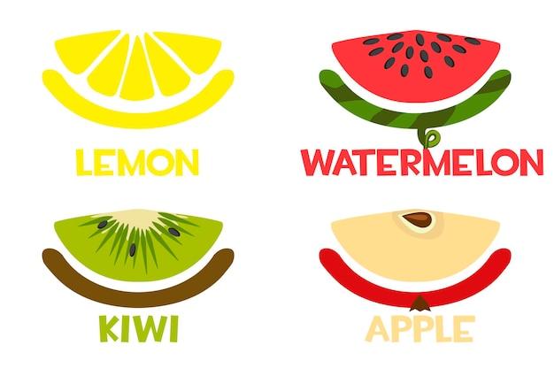 Fruchtscheibensymbole, frische zitrone, apfel, kiwi, wassermelone.