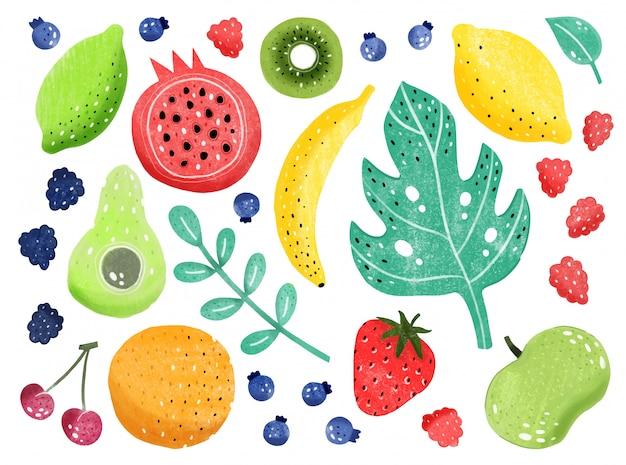 Fruchtset isoliert. handgezeichnete stil.