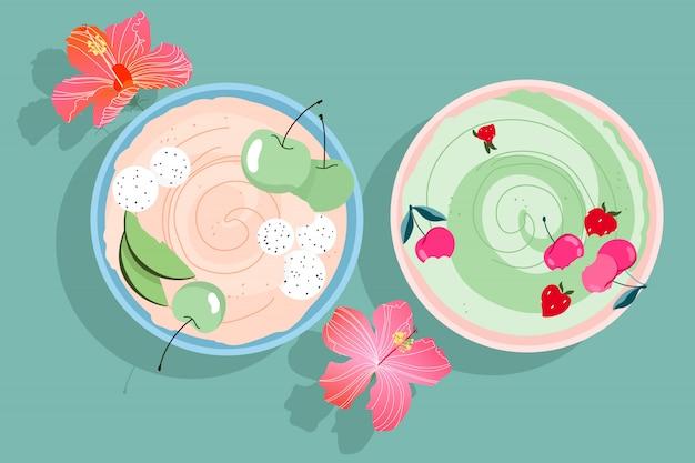 Fruchtsmoothie-schalen. moderne handgezeichnete smoothie-schalen mit kirschen, erdbeeren und äpfeln. hibiskusblüten und sommerfrühstück auf dem tisch. tropische schalen. trendy isolierte designelemente.