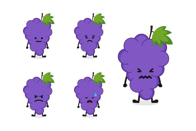 Fruchttrauben-charakterillustration eingestellt für traurigen ausdruck