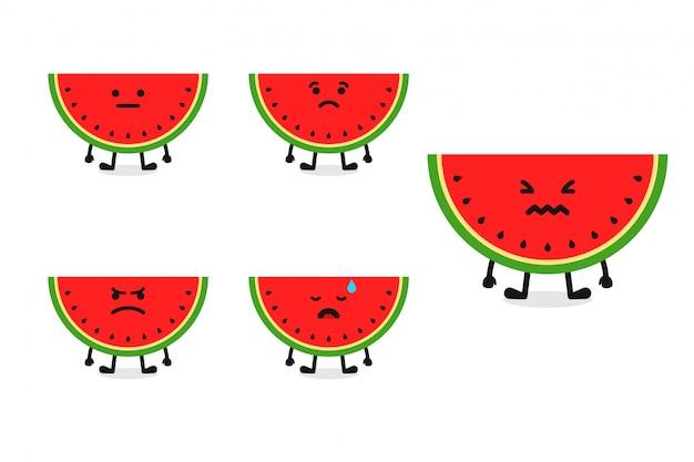 Fruchtwassermelonen-charakterillustration eingestellt für traurigen ausdruck