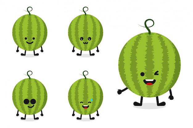 Fruchtwassermelonen-zeichensatz für glücklichen ausdruck