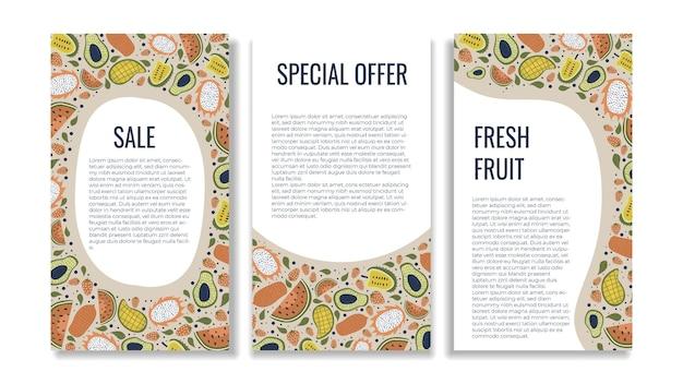 Früchte-banner-vorlage mit handgezeichneter dekoration im vintage-stil