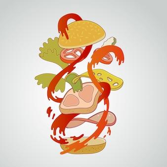 Früchte, die in wasserspritzen, vektor-illustration fallen