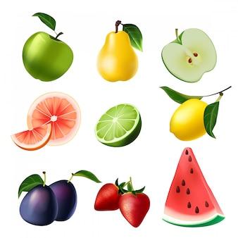Früchte eingestellt getrennt auf weiß
