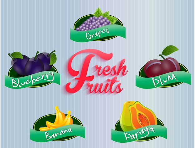 Früchte-etiketten-sammlung
