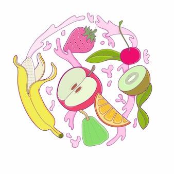Früchte fallen in spritzwasser.