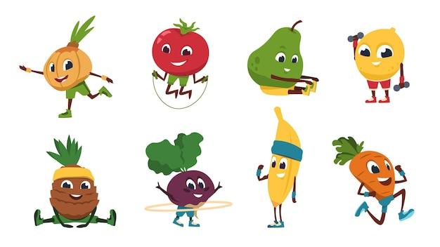 Früchte fitness. gemüse-cartoon-figuren, die fitnessübungen und sportliche aktivitäten machen. vektor-illustration süß und lustig gesundes essen in sporttraining posen eingestellt