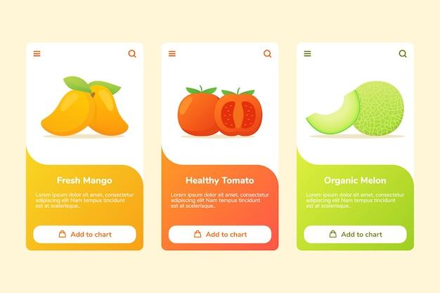 Früchte frische mango gesunde tomaten bio-melone auf boarding-kampagne