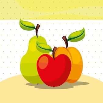 Früchte frische organische gesunde apfelpfirsichbirne