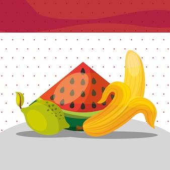Früchte frische organische gesunde wassermelone zitronenbanane