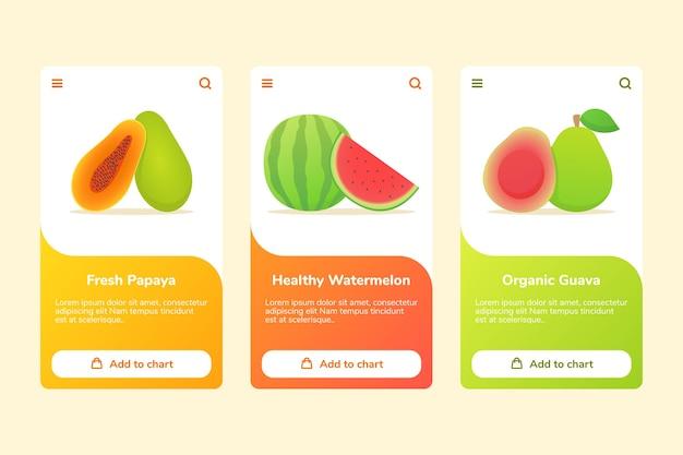 Früchte frische papaya gesunde wassermelone bio-guave auf boarding-kampagne
