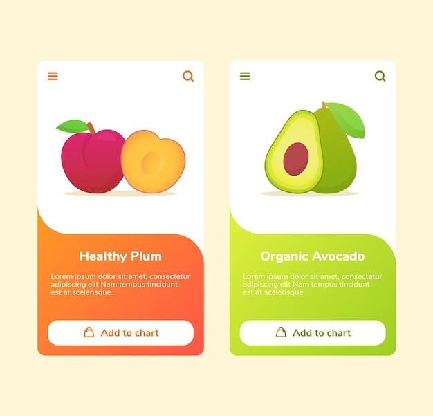 Früchte gesunde pflaume bio-avocado auf boarding-kampagne für mobile apps banner-vorlage