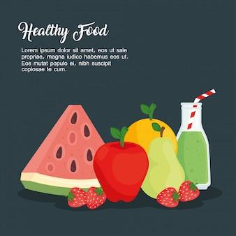 Früchte, gesundes lebensmittelkonzept-vektorillustrationsdesign