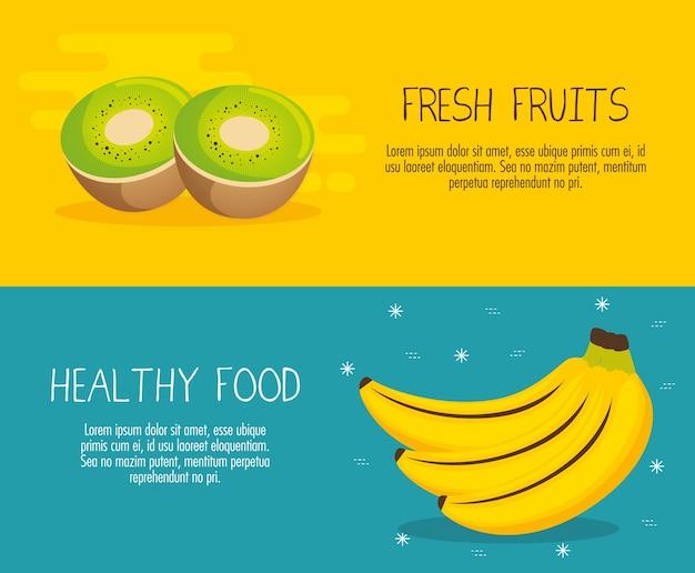 Früchte gruppieren mit ernährungstatsachenvektor-illustrationsdesign