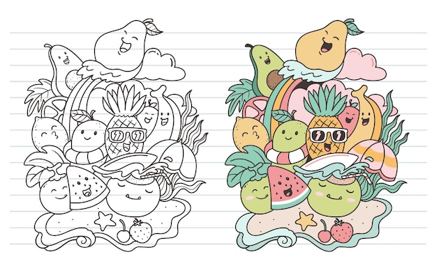 Früchte im sommer kritzeln