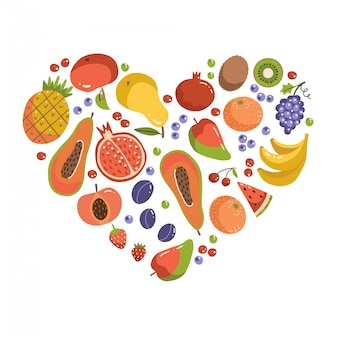 Früchte in herzform. satz fruchtikonen, die herzform bilden. vegetarische lebensmittelelemente. flache illustration der gesunden karikatur.