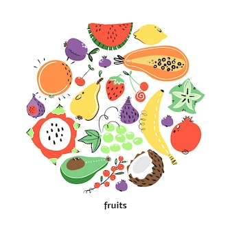 Früchte in runder komposition für ihr design