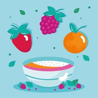 Früchte in schüssel gesunde ikonen
