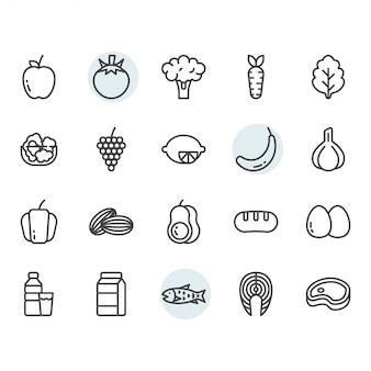 Früchte in verbindung gestandenes symbol und symbolsatz im entwurf