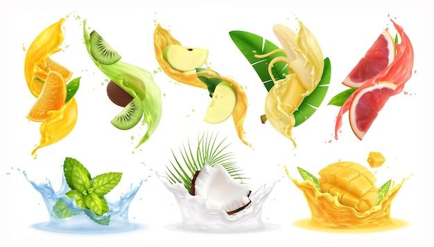 Früchte isoliert auf weißer abbildung Premium Vektoren