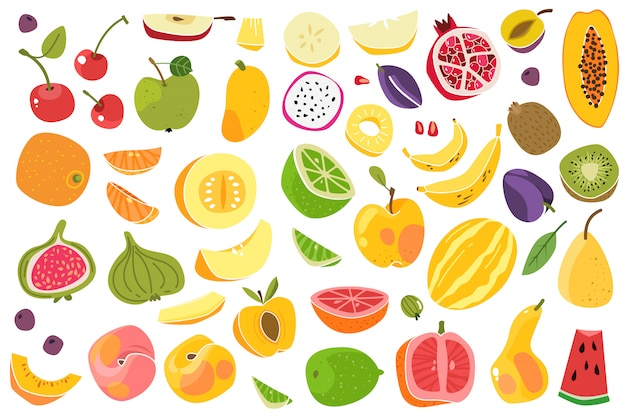 Früchte isoliert. kirsche orange pfirsich pflaume banane melone limette bunte frucht. natürliches veganes lebensmittel-cartoon-set