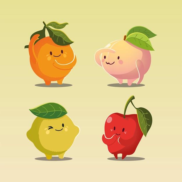 Früchte kawaii lustiges gesicht glück apfel pfirsich orange und zitrone vektor-illustration