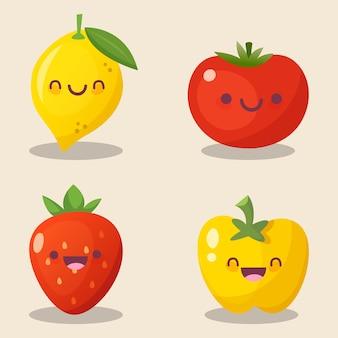 Früchte kawaii niedliches element