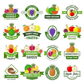 Früchte-logos. dekorationsabzeichen mit gesunden früchten, frischen landwirtschaftlichen öko-naturprodukten, marktanzeigen, vektorsymbolen. abzeichen organisches gesundes bauernhoflebensmittel, emblemaufkleber natürliche illustration