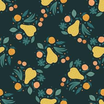 Früchte nahtlose muster. kirschbeeren, äpfel, birnen und blätter übergeben gezogene tapete. lustige süße gartenfrüchte