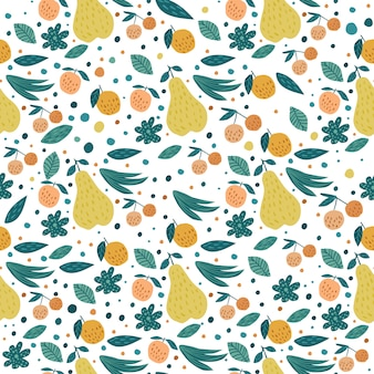 Früchte nahtlose muster. kirschbeeren, äpfel, birnen und blätter
