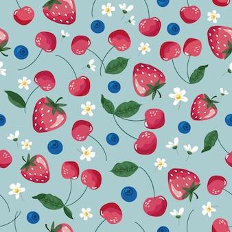 Früchte nahtloses muster erdbeerkirsche und blüte