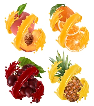 Früchte und beeren im spritzer saftillustrationssatz