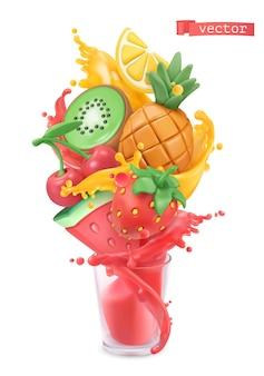Früchte und beeren platzen. süße tropische früchte und gemischte beeren. wassermelone, ananas, erdbeere, kiwi, kirsche, zitrone und saftspritzer. plastilin-kunst 3d-vektor-objekt