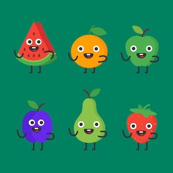 Früchte und beeren setzen lustige charaktere. vektor-illustration.