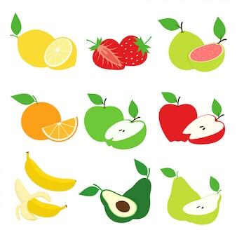 Früchte und frucht-scheiben-sammlungs-design-vektor-satz