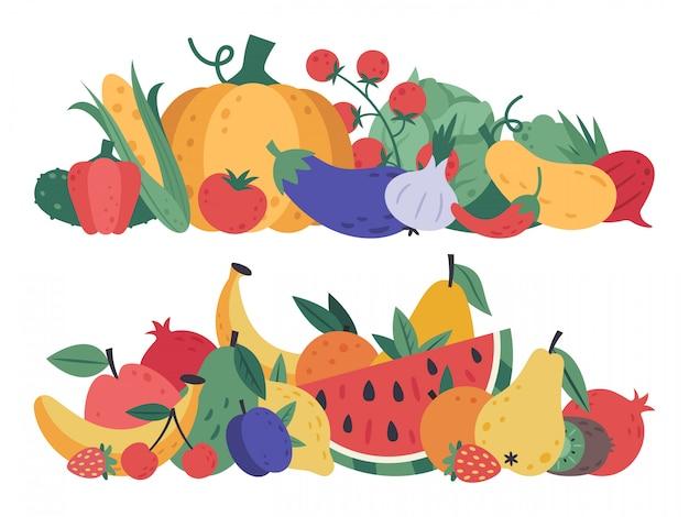 Früchte und gemüse. doodle food, stapel von gemüse und obst, gesunde lebensweise und vegane vitamine rohkost, natürliche früchte und grün cartoon detox menü vegetarische elemente