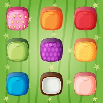 Früchte würfel süßigkeiten bunten match-3-spielstil.