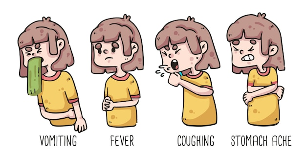 Frühe anzeichen von coronavirus-erbrechen, fieber, husten und bauchschmerzen beim zeichnen von mädchen